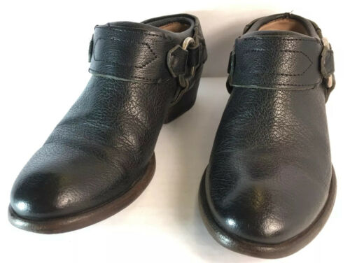 FRYE Harness Black Leather Mule Cowboy Ankle Boots