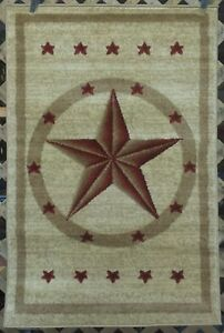 8x11 6x8 3x7 Or 3x4 Cream Red Texas Star Country Western