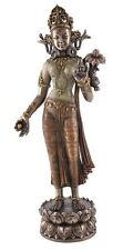 Tibetan Goddess Green  or White Tara Standing Lotus Buddhist Statue Figure #3330