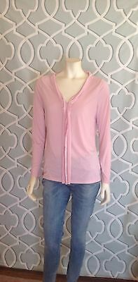 Talbots Pale Pink Long Sleeve Top Front Fabric Detail Size Medium Euc!