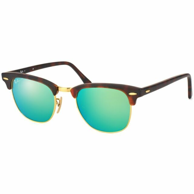 d9f5e69a0a Ray Ban RB 3016 Clubmaster 1145 19 TortoiseGold Green Mirror Sunglasses 49mm