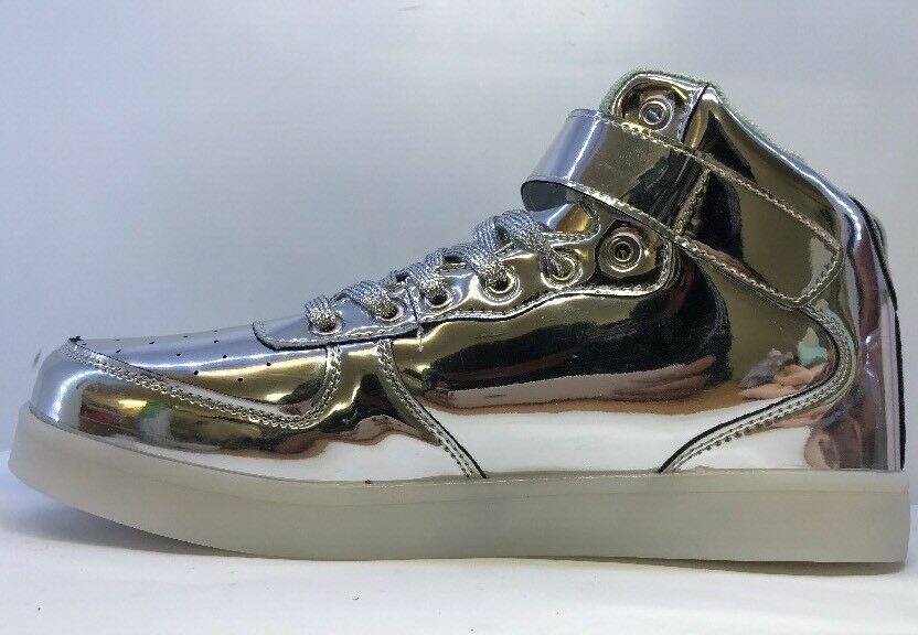 Unisex Silver Metallic Hi Top 43 Light Up Trainers Eu 43 Top 4525ab
