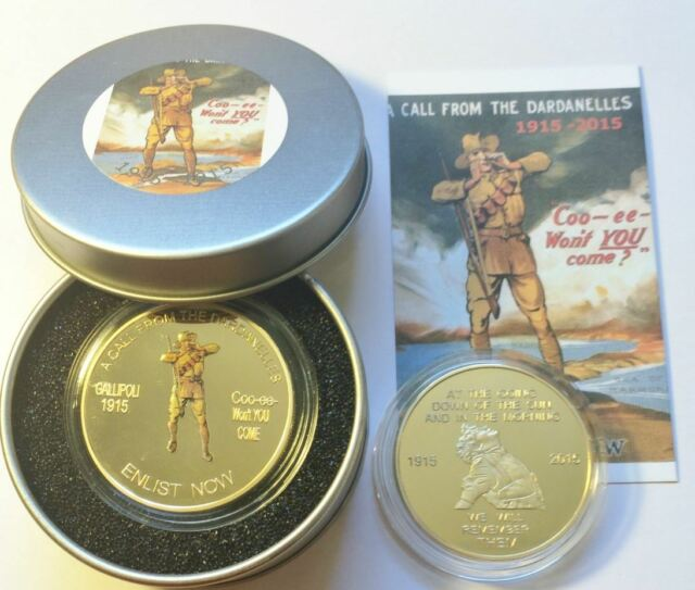 2015 GALLIPOLI CALL FROM THE DARDANELLES COO-EE 1oz Coin in Tin Case