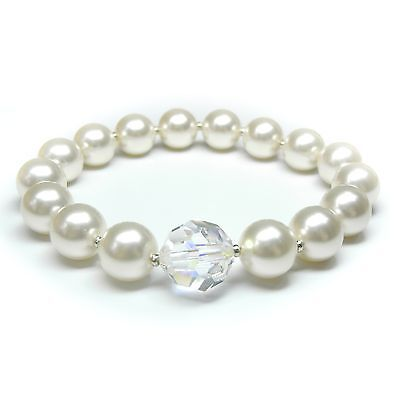Entusiasta Nuovo Bracciale 10mm+12mm Swarovski Perle Crema/crystal Ab Perle Bracciale-mostra Il Titolo Originale