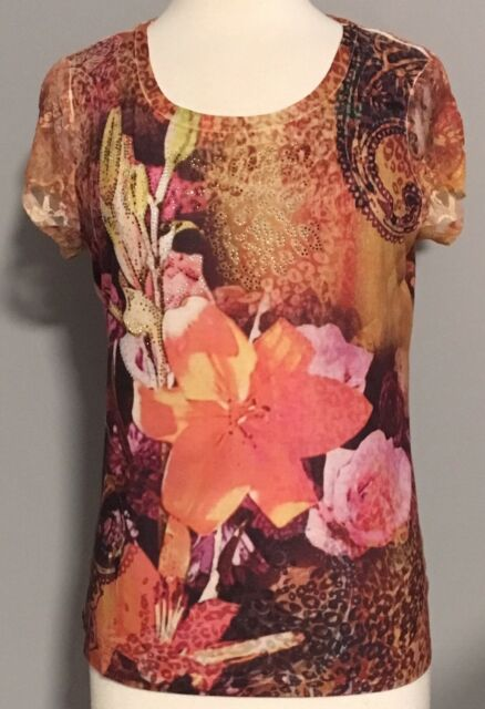 Chico's Lace Cap Sleeves Sublimated Lily Print Blouse Top Rhinestones Sz 1 M 8