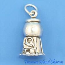 BUBBLE GUM GUMBALL VENDING MACHINE 3D .925 Sterling Silver Charm MADE IN USA