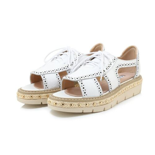 Details about  /Summer Women Casual Roman style Peep-toe Sandals Fashion Lace Up Leather Sandals