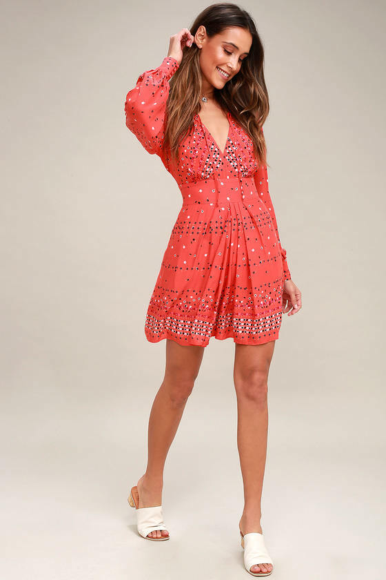 b0401b8fa51 Free People Coral orange Sleeve Dress NWOT Size 2 Long oqmktr14357 ...