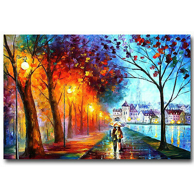 A0 Painting PRINT rain walk Large Modern Abstract COUPLE Art Wall Deco POSTER