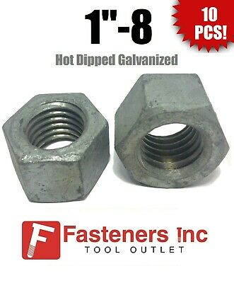 """Qty 10 1/""""-8 Low Carbon Grade 2 Finished Hex Nuts Hot Dipped Galvanized 1-8"""