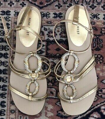 Ladies Nine West Gold Diamonte Embellistment Flat Leather Strap Sandals Size 39 | eBay