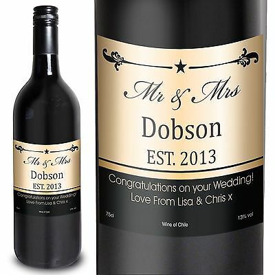 Personalised Established Mr & Mrs Red Wine - Ideal for Couples, First Christmas