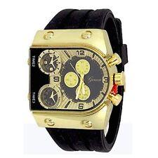 Gold Black Designer Fashion Mens Geneva Silicone Sports Band Watch Oversized