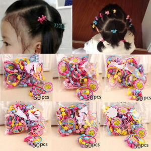 Image is loading 50pcs-Rubber-Band-Elastic-Hair-Bands-Kids-Cartoon- 65809c8c78a