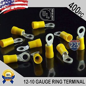 400 PACK 12-10 Gauge #10 Stud Insulated Vinyl Ring Terminals Tin Copper Core US