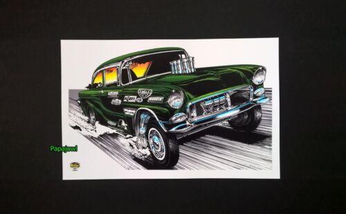 "Hot Rod Drag Racing Art Print Poster 1955 Chevrolet 55 Chevy 11/"" by 17/"" Den"