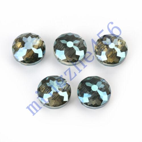10Pcs polonais chic cristal soucoupe volante Beads Findings 14//18mm À faire soi-même Perles