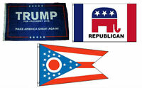 3x5 Trump 1 & Republican & State Of Ohio Wholesale Set Flag 3'x5'