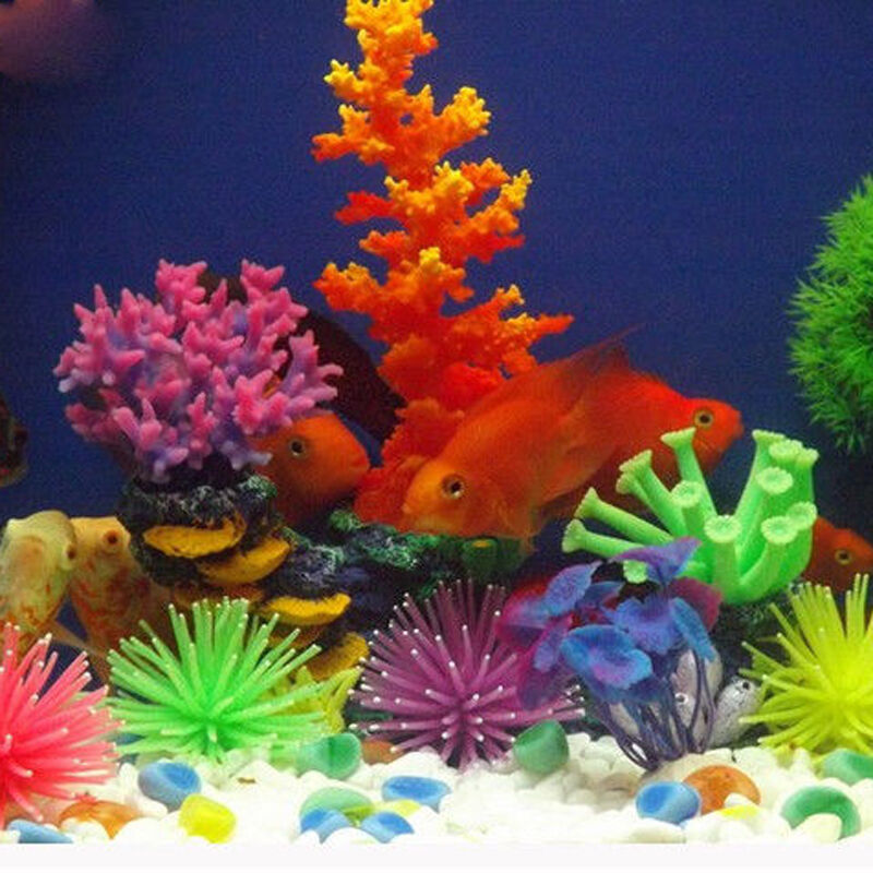 Aquarium soft plastic coral fish tank silicone ornament for Aquarium coral decoration