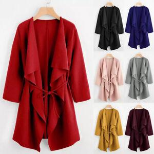 US-Women-Ladies-Long-Waterfall-Coat-Jacket-Cardigan-Overcoat-Outwear-Jumper-Tops