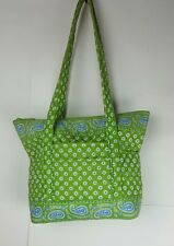 Vera Bradley Large Villager Tote Shopper Purse retired color Apple Green zip top