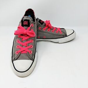 c866ecdb291189 Details about Converse Women s Chuck Taylor All Star Low Top Size 7 Gray  Pink Laces Leopard
