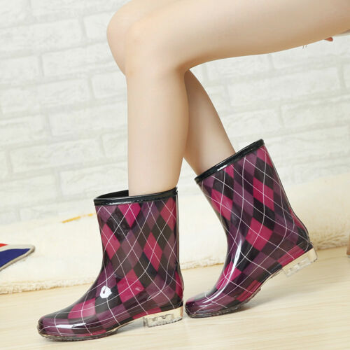 Womens Fashion Polka Dot Pattern Waterproof Mid Calf Boots Clear Heel Rain Boots