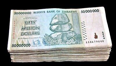 2 Zimbabwe Banknotes-1 x 50 Million /& 1 x 100 Million Dollars-aUNC//2008//AA