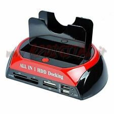 "DOCKING STATION HD 3,5"" 2,5 "" SATA HARD DISK BOX USB CARD READER BACKUP LETTORE"