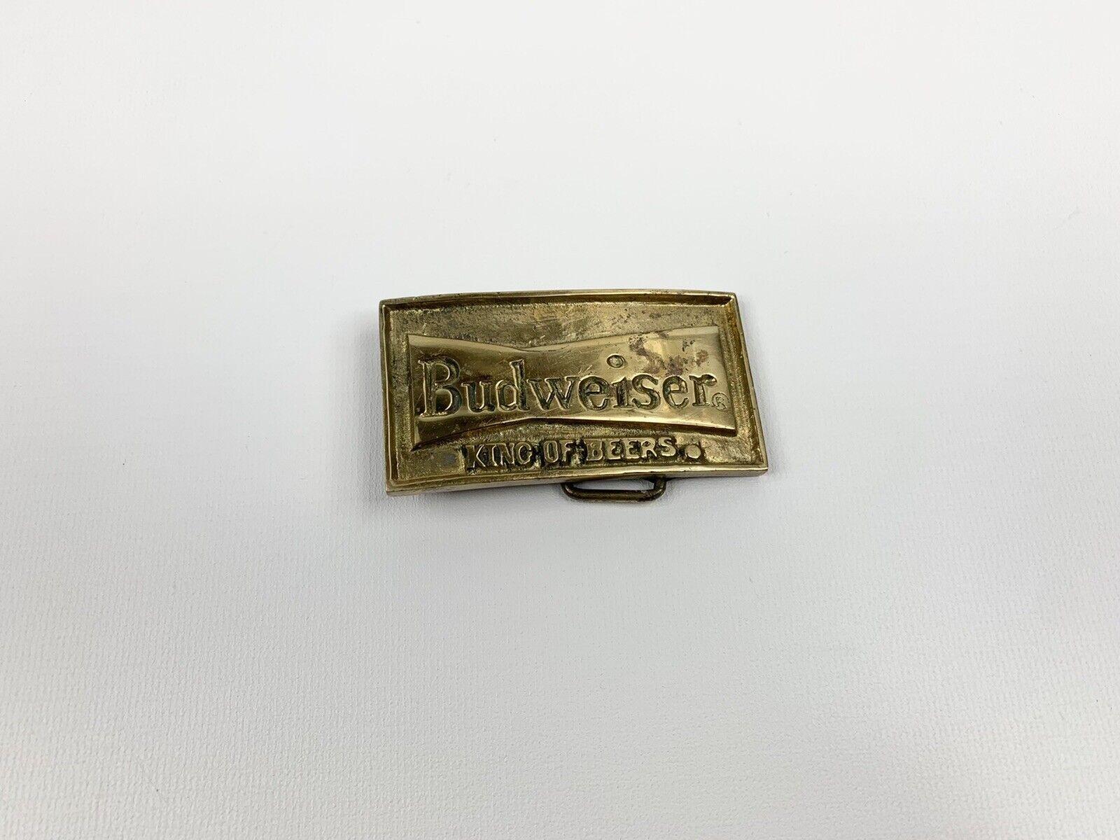 "VINTAGE BRASS BUDWEISER BELT BUCKLE The King of Beers BEER LABEL 3.5"""