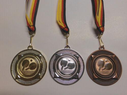 Tischtennis Pokal Kids Medaillen 3er Set 50mm Band/&Emblem Turnier Pokale e277