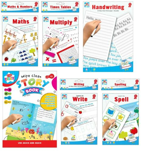 Educational Wipe Clean Books Writing Maths Spell Times Tables Worksheet Learn To
