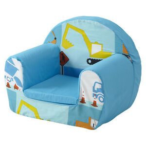 Image Is Loading Construction Blue Childrens Kids Comfy Foam Chair Toddlers