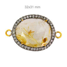 Rutile Qtz 14K Gold Connector Diamond Studded Gemstone Finding Jewelry 32x21 mm