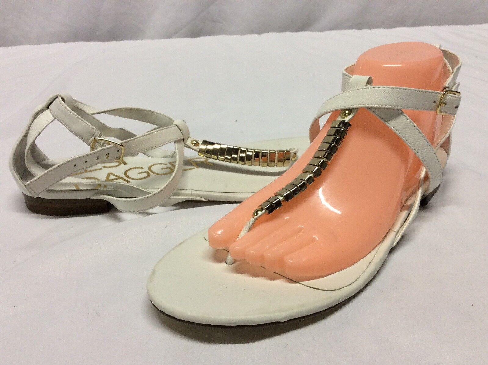 Kelsi Dagger Women's Flat Sandals,  Retail.White Leather,Size10 M....SANDS 3