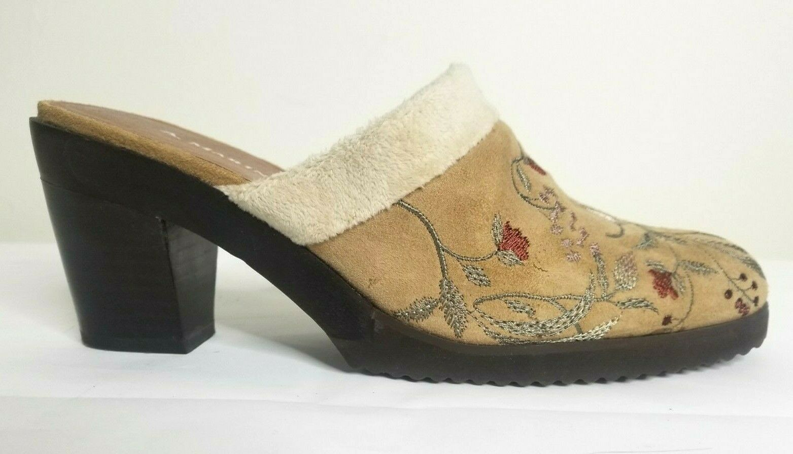 A Marinelli Embroidered Mules Women's 7 Suede Shoes Minky Trim Chunky Heel Clog