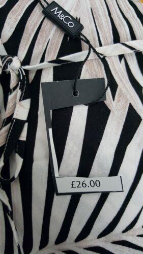NEW ExM/&Co 10-20 RRP £26.00 Palm Print Black White Beige Elasticated Midi Skirt