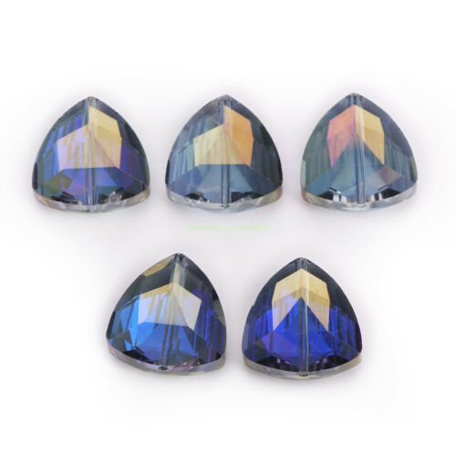 Nouveau 18 mm Triangle Facette Verre Cristal Loose Beads Spacer Jewelry Making 10Pcs