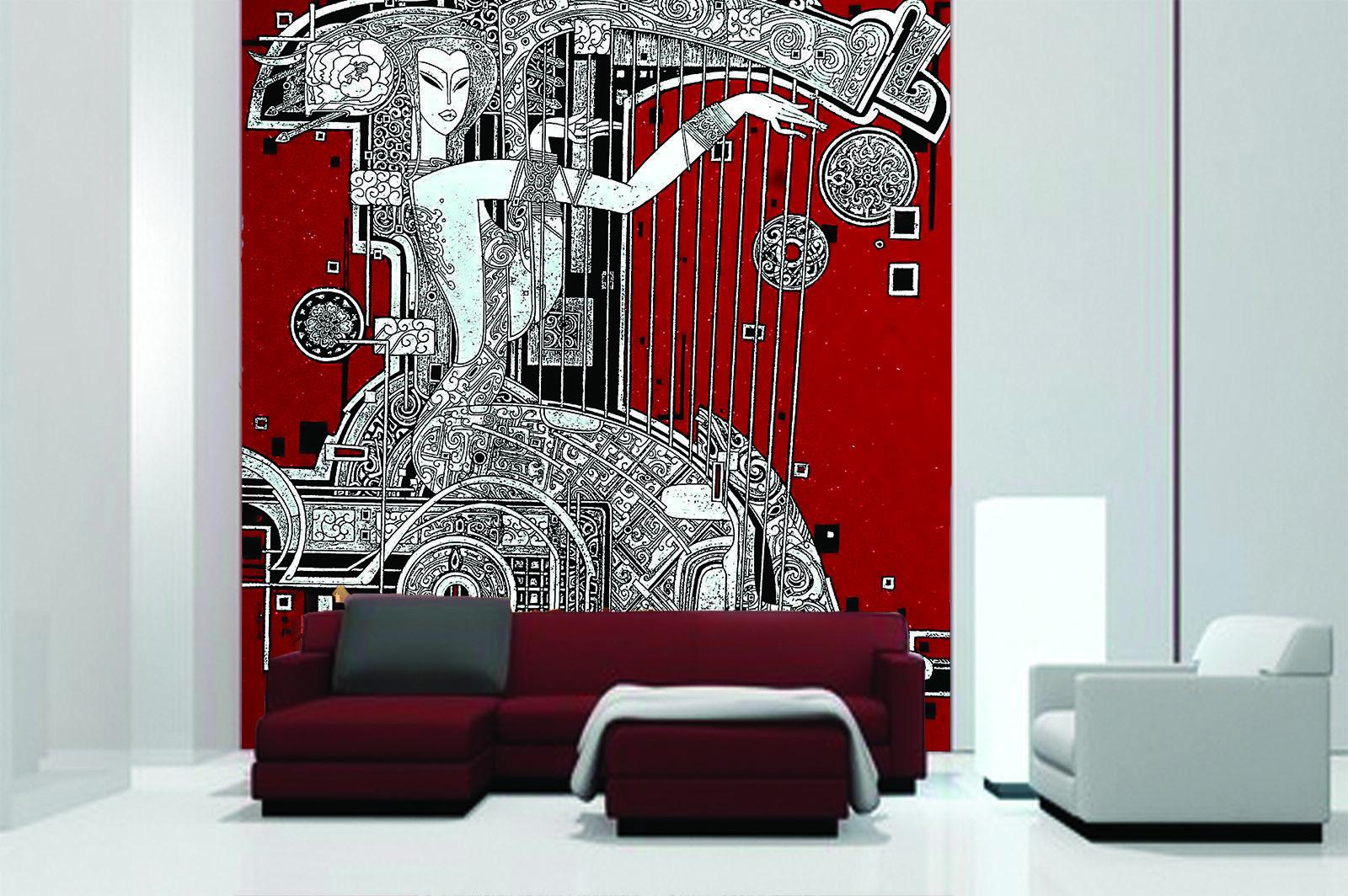 3D Spielen Harfe Schönheit 86 Tapete Wandgemälde Tapete Tapeten Bild Familie DE
