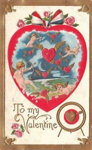 Postcard-To-My-Valentine-Cupids-Shooting-Hearts