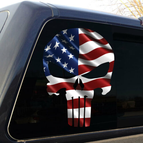 Military Decal Sticker Graphic horizontal Punisher Skull American Flag #3