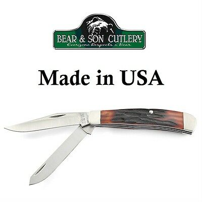 Bear /& Son Cutlery Lil/' Trapper Red Jigged Stag Bone NEW Made in USA