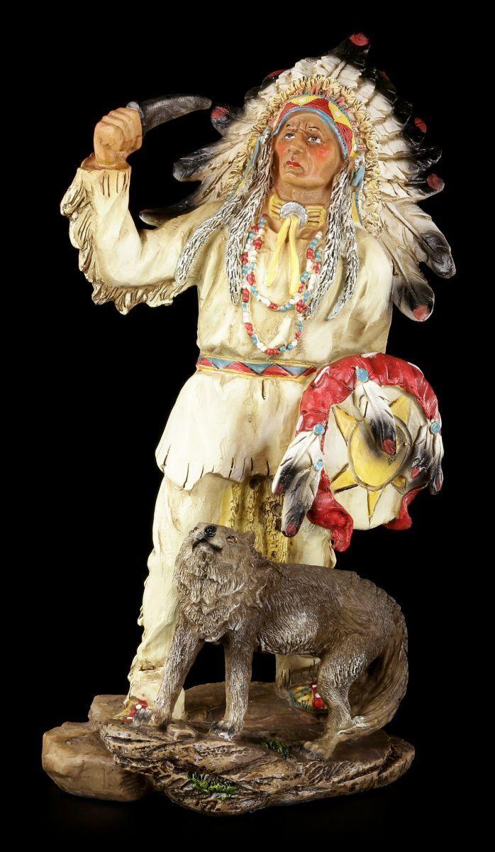 Indianer Figur 29,5 cm - Häuptling mit Wolf - Western Deko