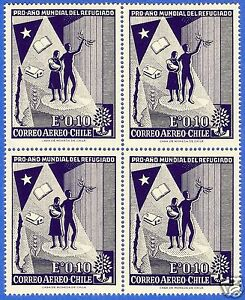 CHILE, INTERNATIONAL YEAR OF THE REFUGEE, MNH, BLOCK OF FOUR, YEAR 1960