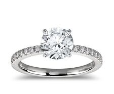ENGAGEMENT RING WITH 1.50 CARAT ROUND AND 18 Side Stone .25ct 14k Gold