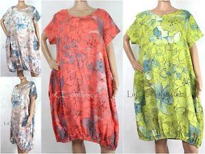 25971c2eb51 NEW Womens Empire Line Italian Linen Floral Lagenlook Tunic Dress | eBay