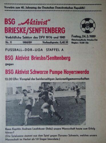 Programm 1988//89 Aktivist Brieske Senftenberg Schwarze Pumpe