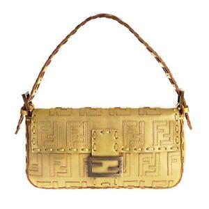 51834443dba6 Image is loading NEW-Authentic-Fendi-Gold-Baquette-Handbag-RARE