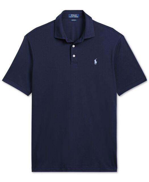 Mens Polo Ralph Lauren Classic Fit Knit Short Sleeve Shirt French Navy M