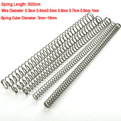 305mm Compression Spring 304 Stainless Steel Spring Wire Dia 0.3mm-2mm OD 3-30mm